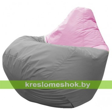 Кресло мешок Груша Венус (основа серая, вставка розовая)