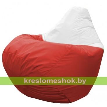 Кресло мешок Груша Клубничка (основа красная, вставка белая)