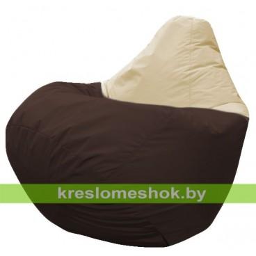 Кресло мешок Груша Берг (основа коричневая, вставка бежевая)