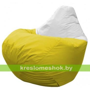 Кресло мешок Груша Остин (основа жёлтая, вставка белая)