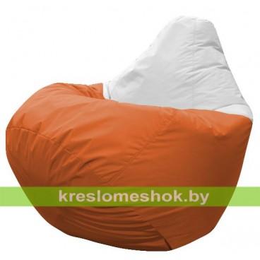 Кресло мешок Груша Элвис (основа оранжевая, вставка белая)
