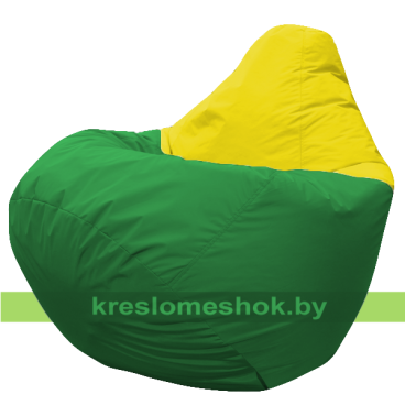 Кресло мешок Груша Макси Нэкст (основа зелёная, вставка жёлтая)