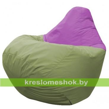 Кресло мешок Груша Марсель (основа оливковая, вставка фиолетовая)