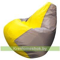 Кресло-мешок Груша Макси (серый+жёлтый)