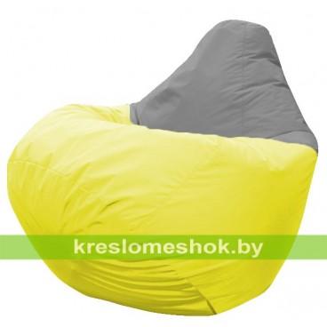 Кресло мешок Груша Альфа (основа жёлтая, вставка серая)