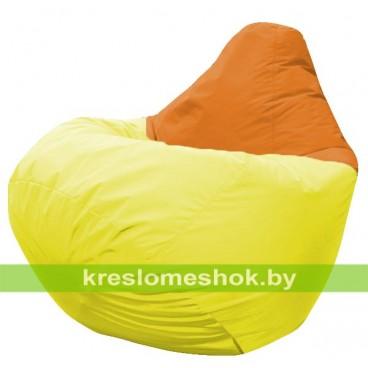 Кресло мешок Груша Давид (основа жёлтая, вставка оранжевая)