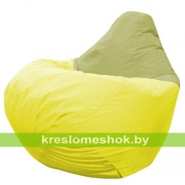 Кресло мешок Груша Эдвард (основа жёлтая, вставка оливковая)