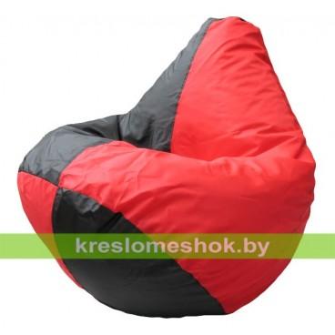 Кресло мешок Груша Арлекино (основа чёрная, вставка красная)